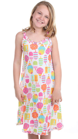 Sara's Prints Natural Ice Cream Cone Ruffled Tank Nightgown