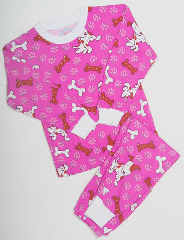 Sara's Prints Natural Long Sleeve Magenta Good Dog Pajamas sz 2 & 4