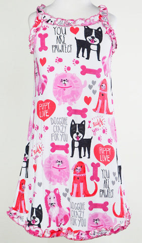 Sara's Prints Natural Puppy Love Ruffled Tank Nightgown