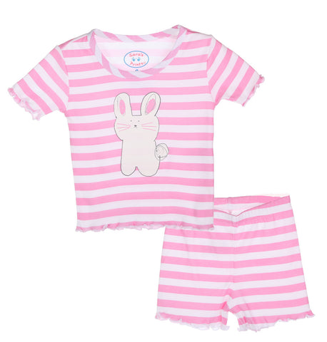Sara's Prints Natural Cotton Lettuce-Edged Short Pajamas in Bunny Stripe sz 7