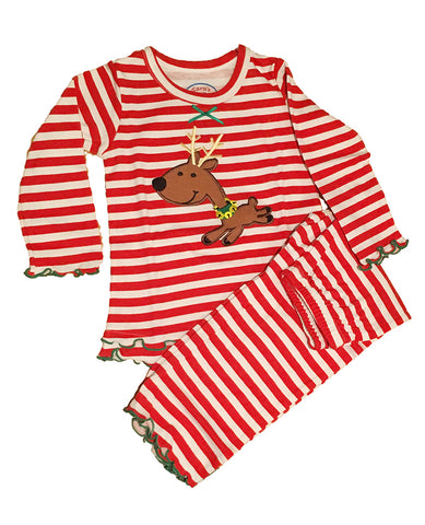 Sara's Prints Long Sleeve Red Striped Reindeer Ruffled Pajamas