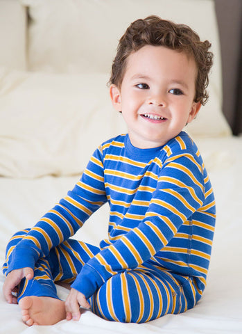 Skylar Luna Organic Royal & Gold Stripe L/S Pajamas