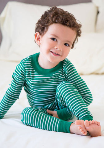 Skylar Luna Organic Forest Green & Grey Striped L/S Pajamas