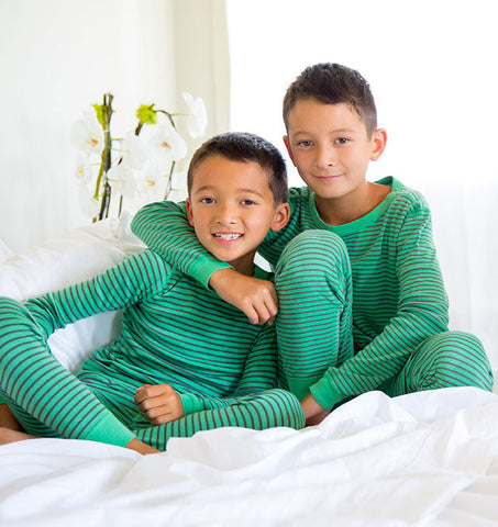 Skylar Luna Organic Green & Blue Striped L/S Pajamas sz 12/18m 18/24m 7 & 8 years only