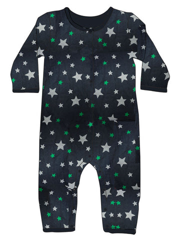 Skylar Luna Organic Marine and Silver Stars One Piece Pajamas for Babies