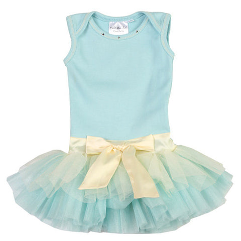 Ooh La La Couture Tie Bow Onesie Dress in Blue Ice for Babies