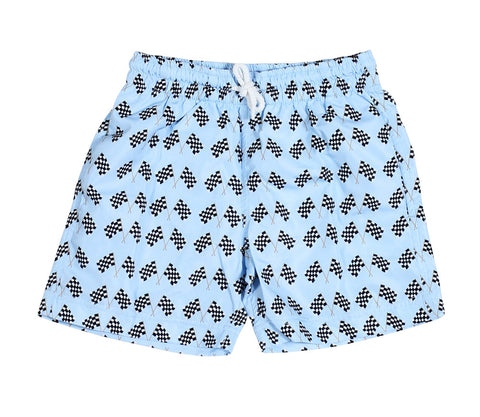 Stella Cove Ready Set Go Race Flags Swim Trunks for Boys sz 8 & 9