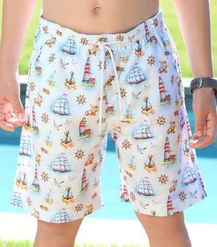 Stella Cove Clipper Ship Nautical Swim Trunks for Boys sz 5 & 7