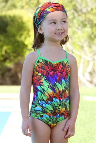 Stella Cove Peacock Feathers Swimsuit for Tweens sz 11 only