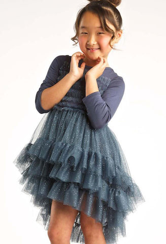 Stella Industries Celeste Long Sleeve Tutu Dress in Sparkle Silver