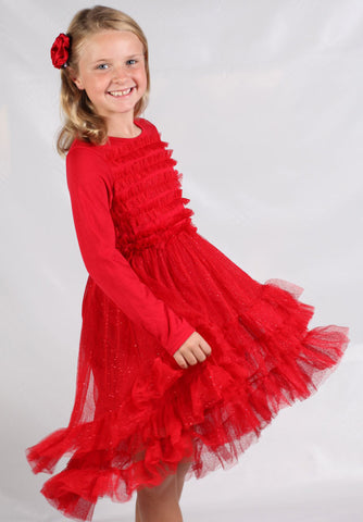 Stella Industries Celeste Long Sleeve Tutu Dress in Sparkle Red sz  4 only
