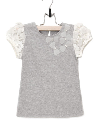 Maeli Rose Heathered Grey Top with Lace Sleeves and Bows sz 2T