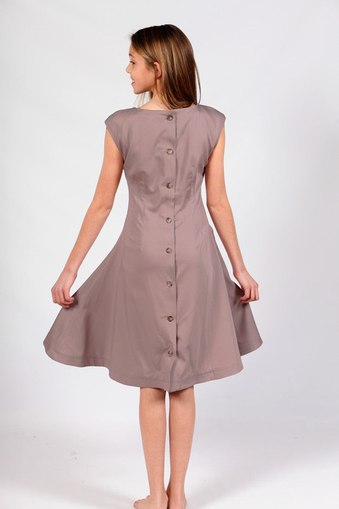 Savile Row London Back Button Dress Taupe