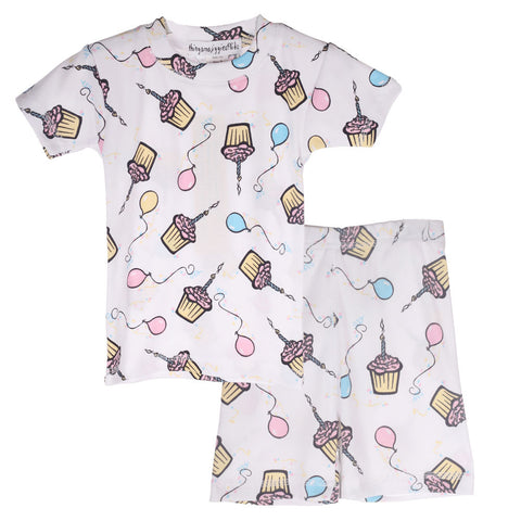 Thingamajiggies Birthday Cupcakes Short Pajamas sz 4T & 4 only