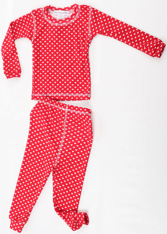 Thingamajiggies Hearts On Red Long Pajamas sz 4 only