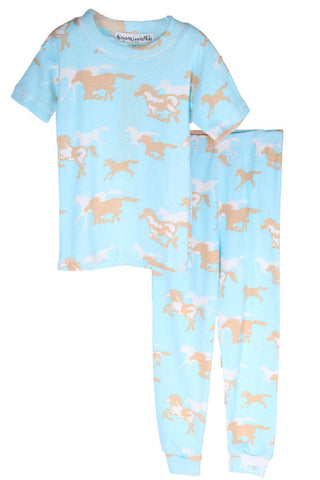 Thingamajiggies Pony Express Pajamas S/S Top Long Pajamas Pants Set