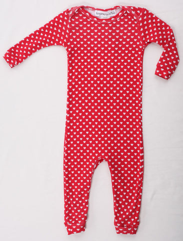 Thingamajiggies Hearts on Red Longjohns Pajamas sz 24 mos only