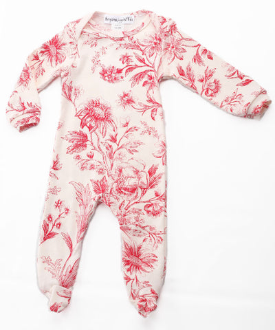 Thingamajiggies Red Toile Footed Pajamas for Babies sz 9 mos only