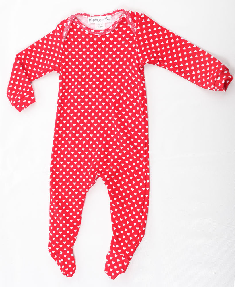 034e5e6ed Thingamajiggies Hearts On Red Footed Pajamas for Babies – Bunnies Picnic