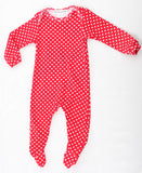 Thingamajiggies Hearts On Red Footed Pajamas for Babies