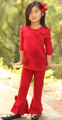 Trish Scully Christmas Floral Red Tunic