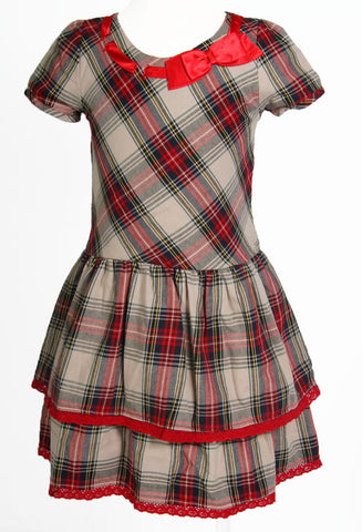 Trish Scully Tartan Holiday Christmas Bow Dress sz 24m & 4 & 4T