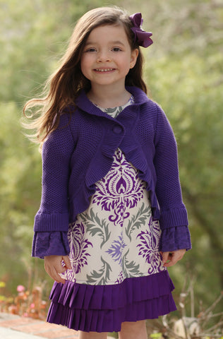 Trish Scully Purple Sweater Shrug Bolero sz 3T 4 5 6x only