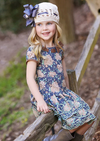 Trish Scully Giddy Up Western Floral Dress with Suede Bow sz 4T & 4 only