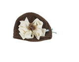 Buds & Bows Brown Crochet Cap with Removable Ivory Bow