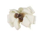 Buds & Bows Extra Large Ivory Bow with Brown Roses