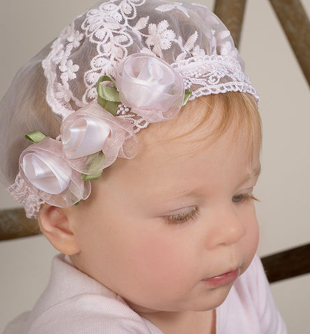 Truffles Ruffles Pink Embroidered Lace Cap for Babies