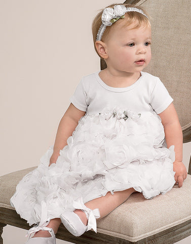 Truffles Ruffles Rose Dress in White