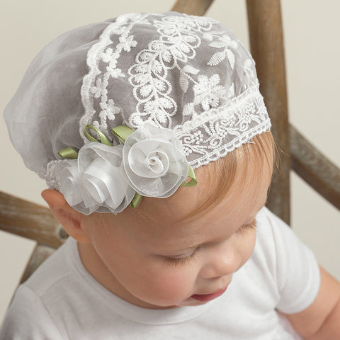 Truffles Ruffles White Embroidered Lace Cap for Babies