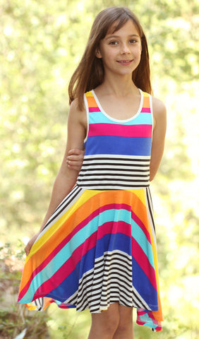 Truly Me Technicolor Stripe Skater Dress sz 14 & 16 only