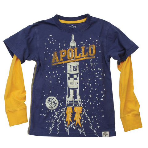 Wes and Willy Apollo Rocket Glow in the Dark L/S Top for Boys