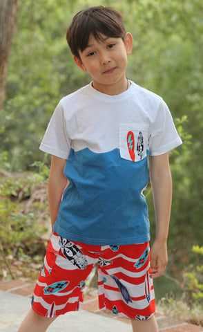 Wes and Willy Short Sleeve Wave Tee for Boys sz 7 only