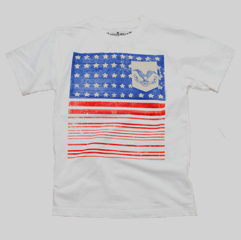 Wes and Willy Short Sleeve Americana Flag Tee for Boys