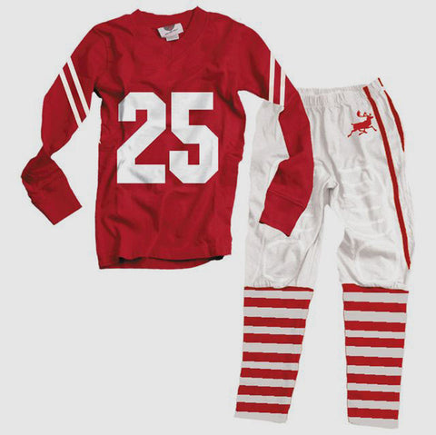 Wes and Willy Christmas Football Style Pajamas for Boys and Girls