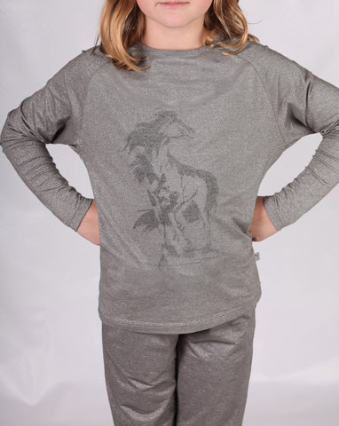 Wheat Sparkle Silver Unicorn Tee sz 4 only