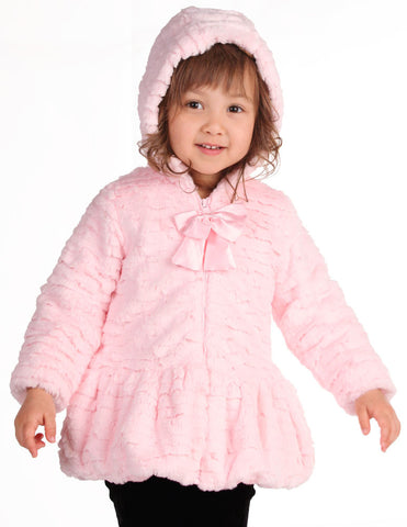 American Widgeon Hooded Coat with Bow Zipper in Pink -- Super Soft sz 9 mos only