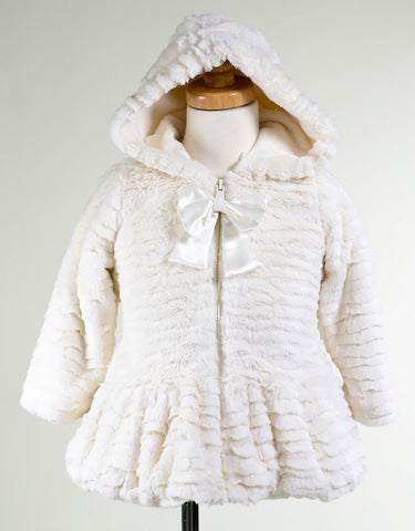 American Widgeon Hooded Coat with Bow Zipper in Cream -- Super Soft sz 4 only