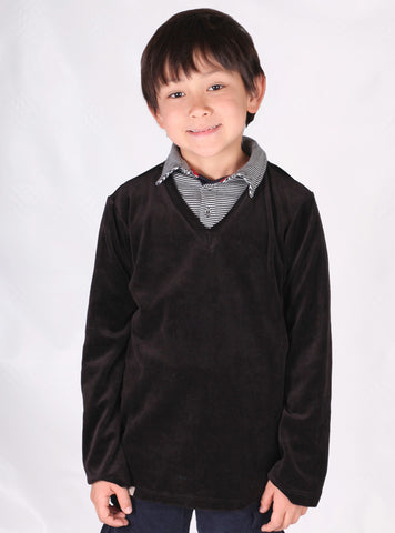 Wonderboy Velour V-Neck Pullover for Boys