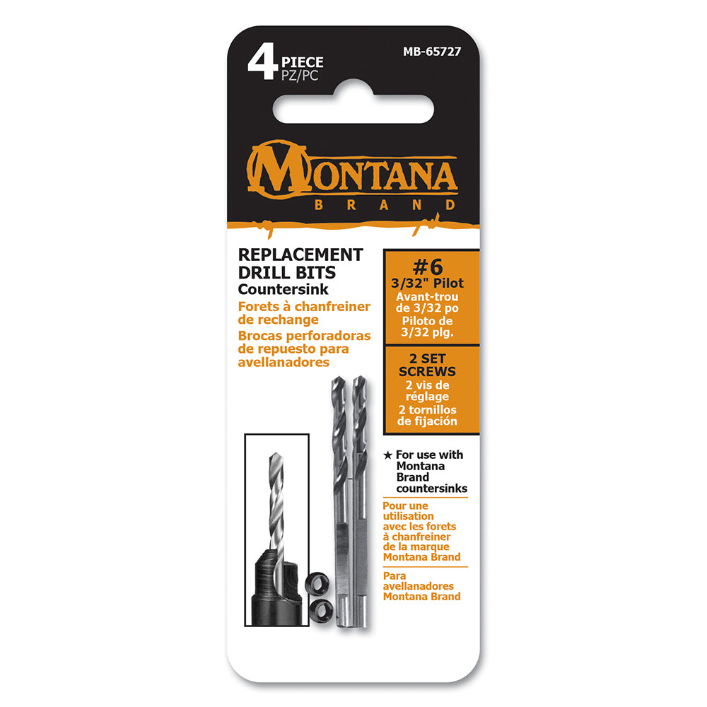 Montana Brand #6 Replacement Countersink Drill Bits with Set Screws