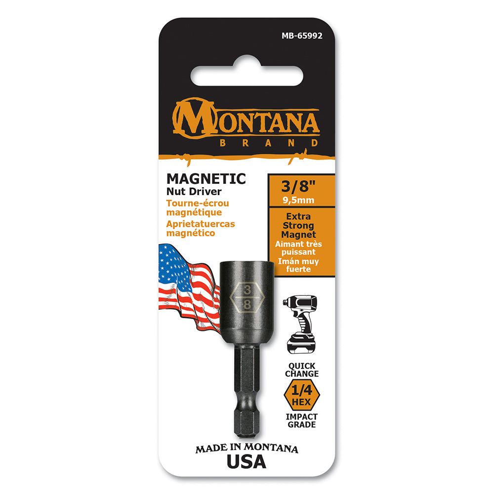 """3//8/"""" Magnetic Impact Ready 2/"""" Nut Setters Bit MADE IN USA QTY 2!! Size"""