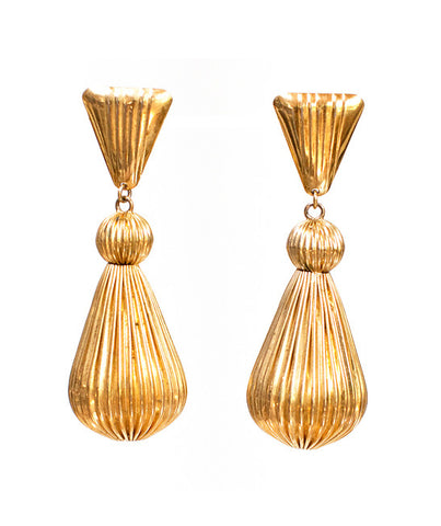 1980's Gold Tear Drop Earrings