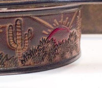 "Southern desert w/ Red sunset 1 1/2"" belt brown"
