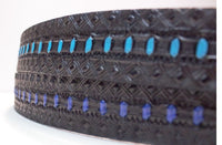 "Blue or Turqouise center dots on 1 1/2"" belt black"