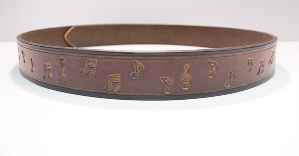 "Muscial notes leather 1 1/4 "" belt"