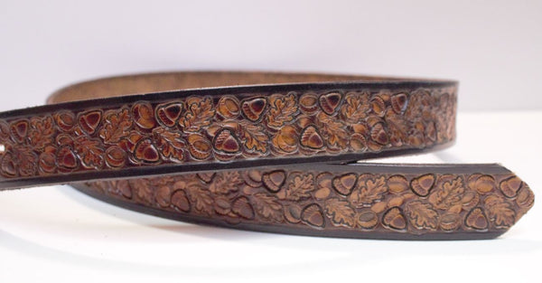 "Oak and Acorn 1 1/2"" belt brown with drk burnished edges."