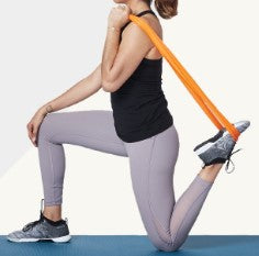 Kneeling quad stretch with resistance bands